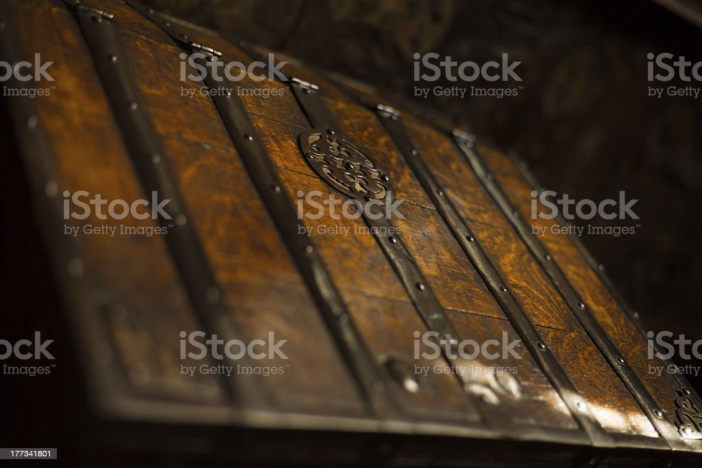 Old Dark Wooden Trunk Chest stock photo
