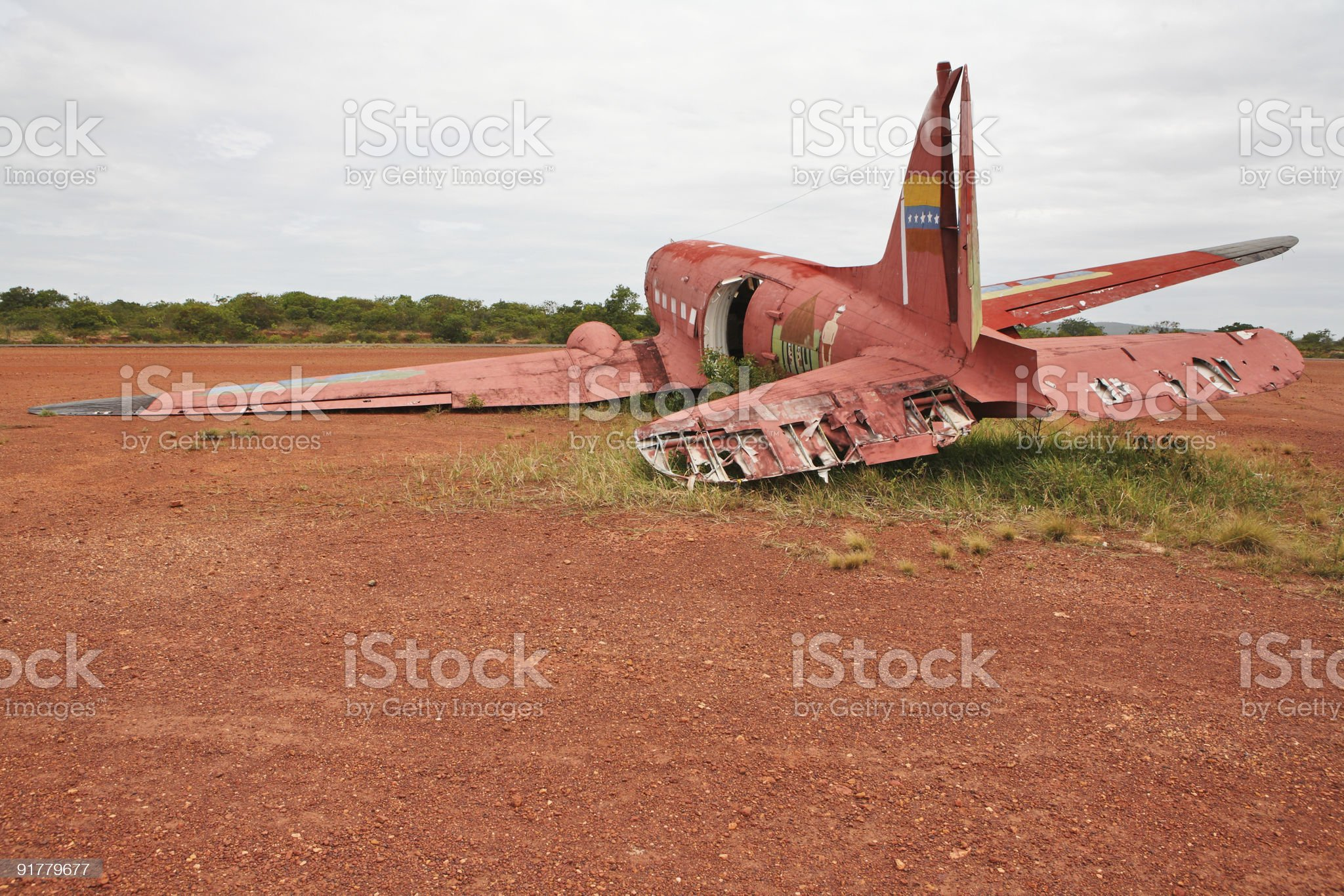 Old debris from crashed plane on arid area royalty-free stock photo