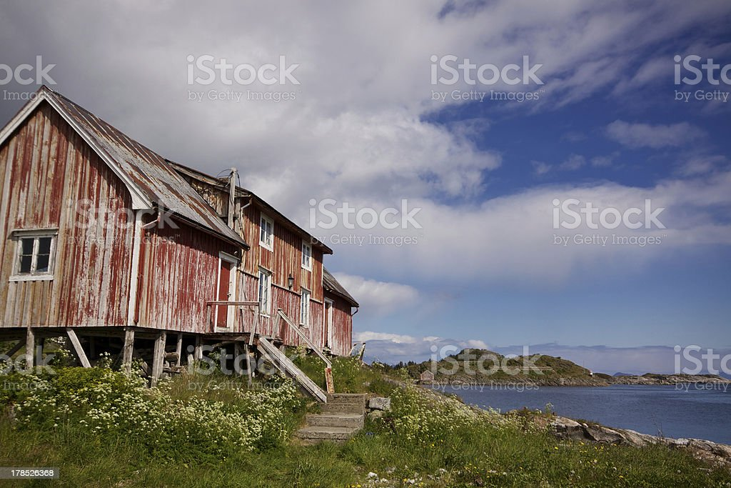 Old decaying fishing house royalty-free stock photo