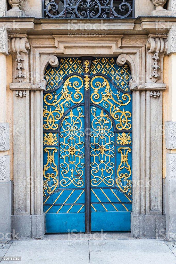 Old decorative blue doors stock photo