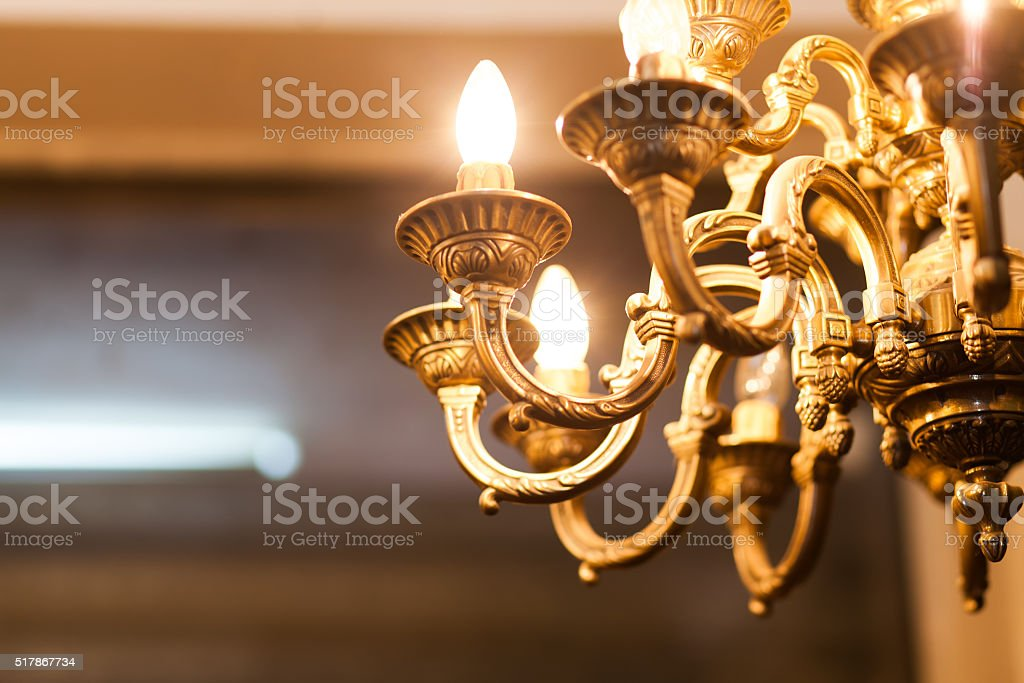 old decorative chandelier stock photo