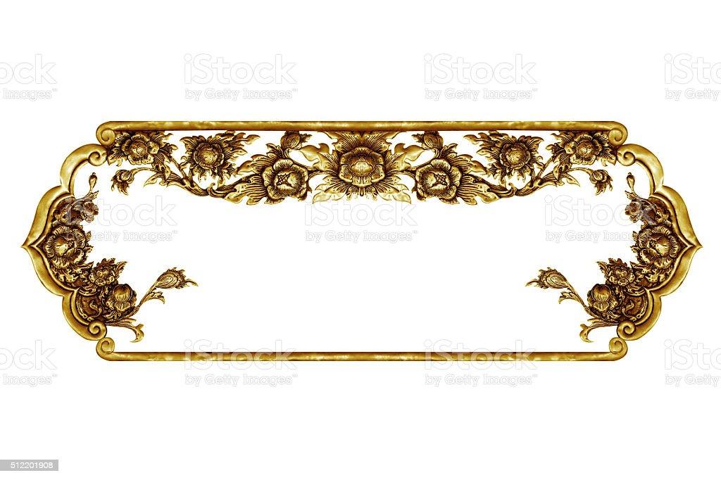 old decorative frame - handmade, engraved - isolated on white stock photo