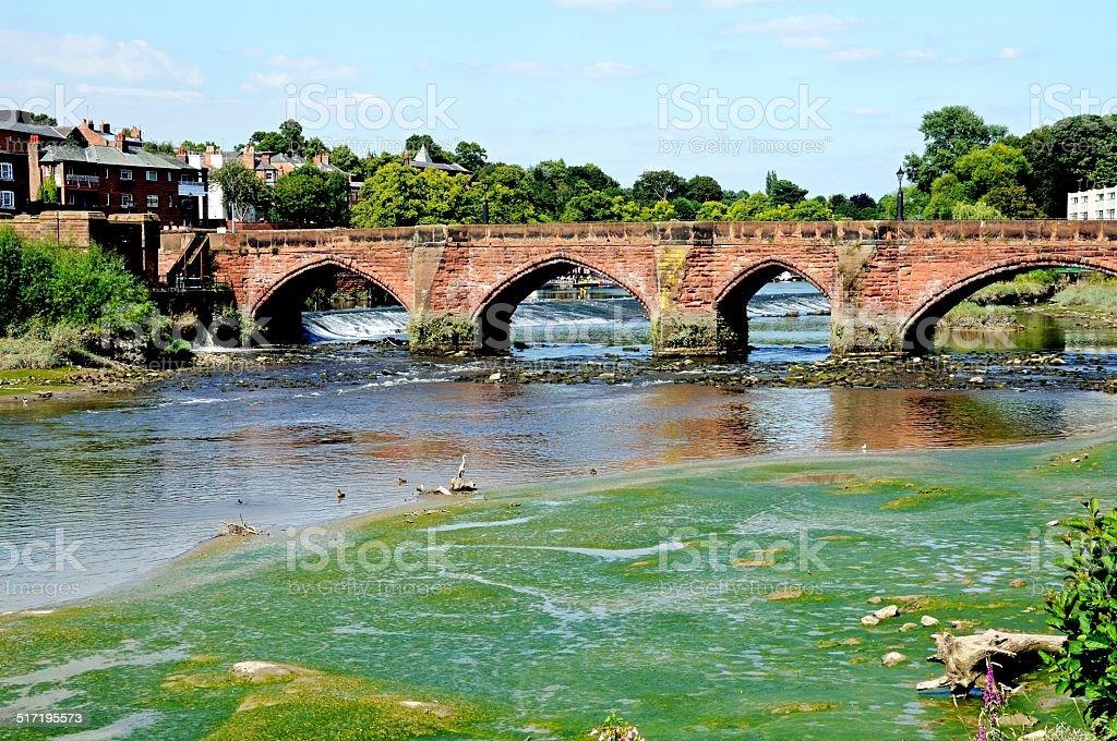 Old Dee Bridge, Chester. stock photo