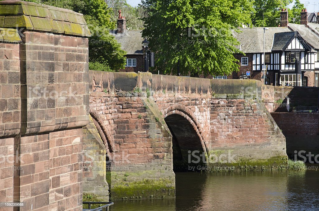 Old Dee Bridge in English City of Chester stock photo