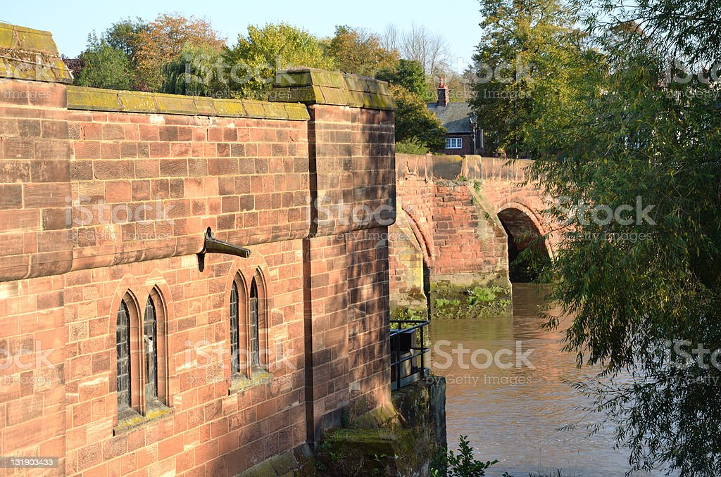 Old Dee Bridge Over River royalty-free stock photo