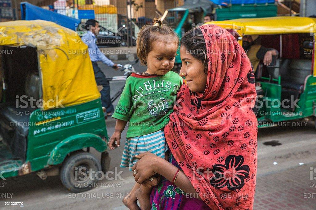 Old Delhi beggar girl stock photo