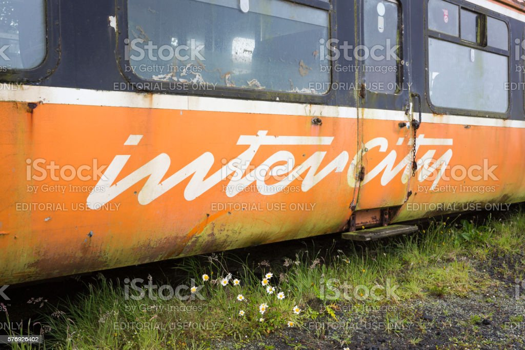 Old derelict train on a holding track stock photo