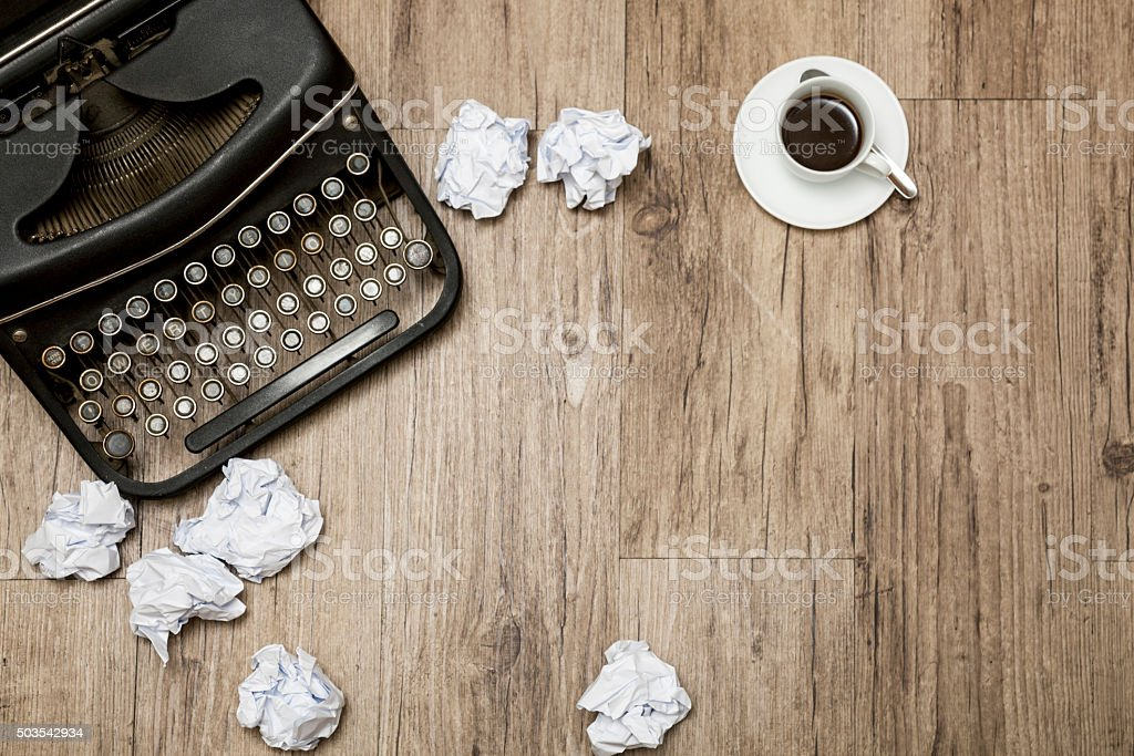 Old desk of a autor stock photo