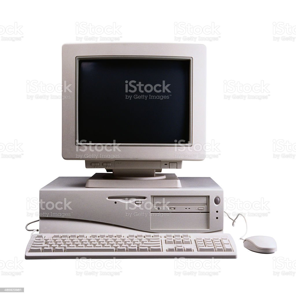 Old Desktop computer with  monitor, keyboard and mouse stock photo