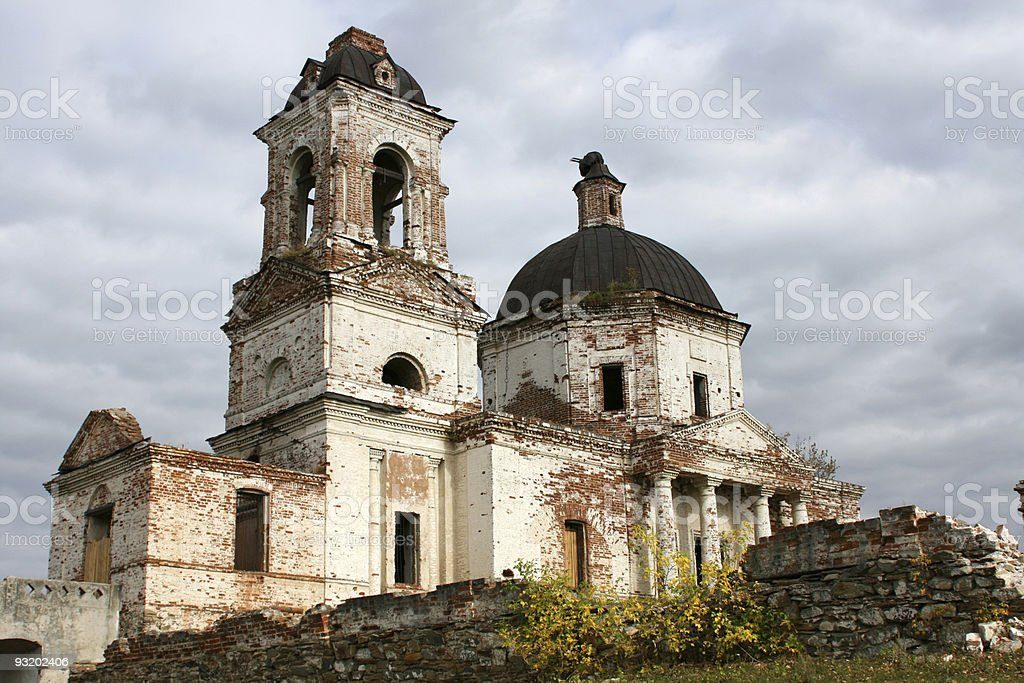 Old destroyed church stock photo
