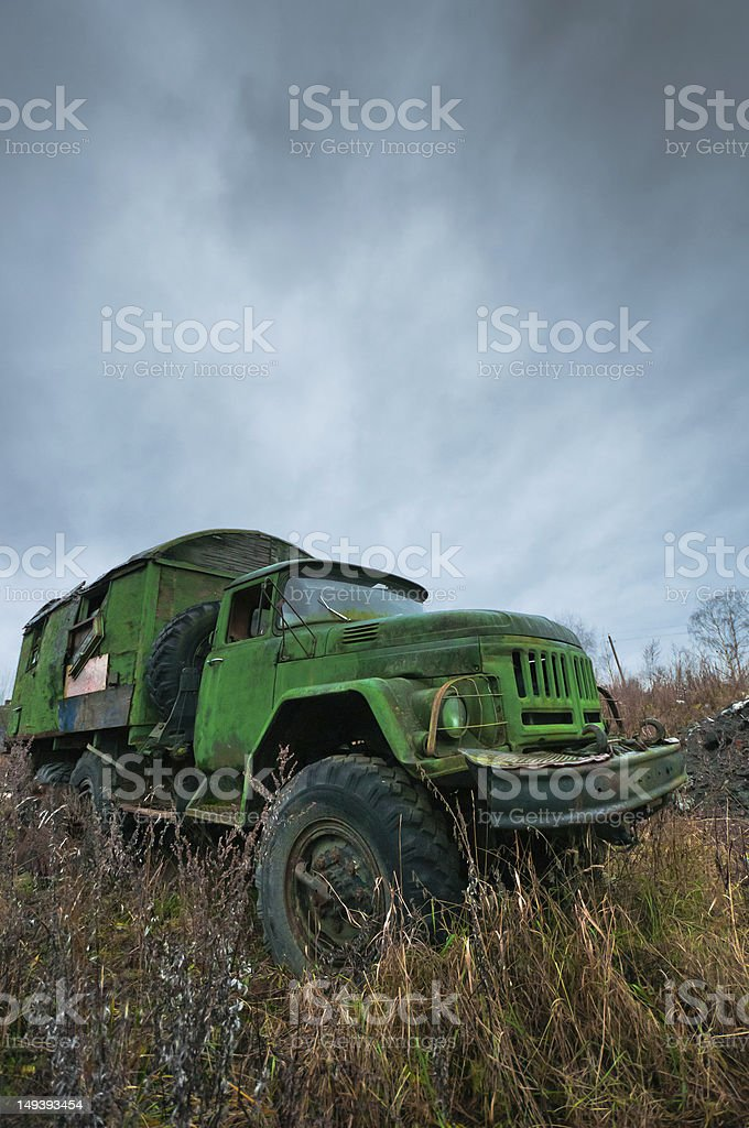 Old destroyed truck royalty-free stock photo