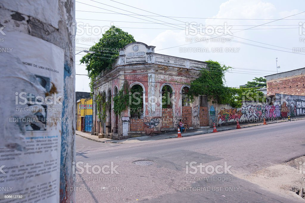 Old deteriorated building in Manaus stock photo