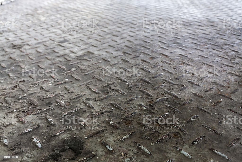 Old diamond pattern metal sheet royalty-free stock photo