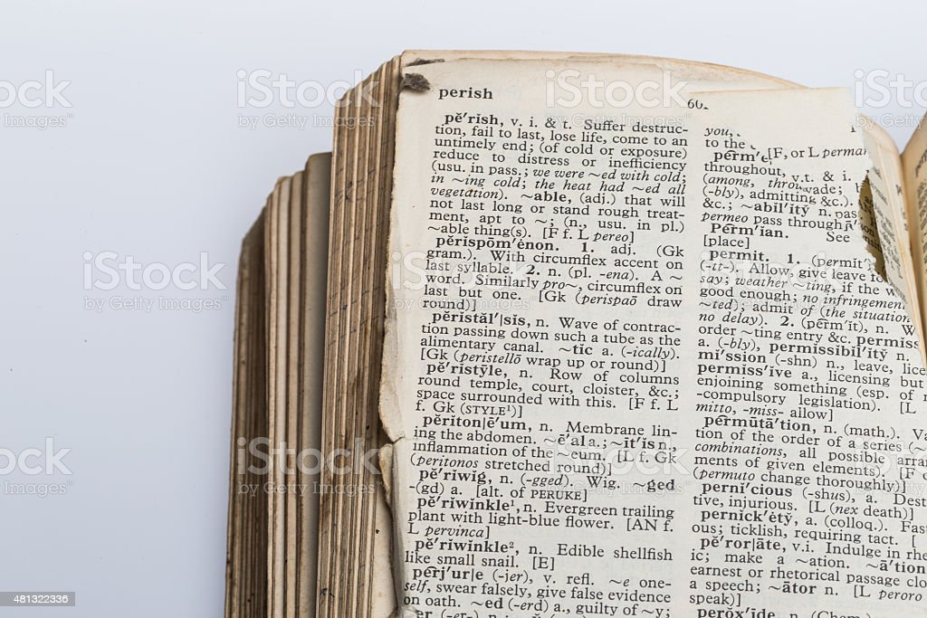 Old Dictionary with torn pages stock photo