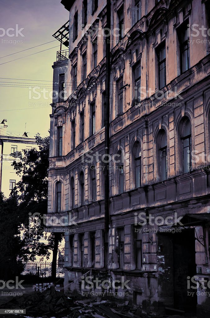 old dilapidated building as a nightmare. stock photo