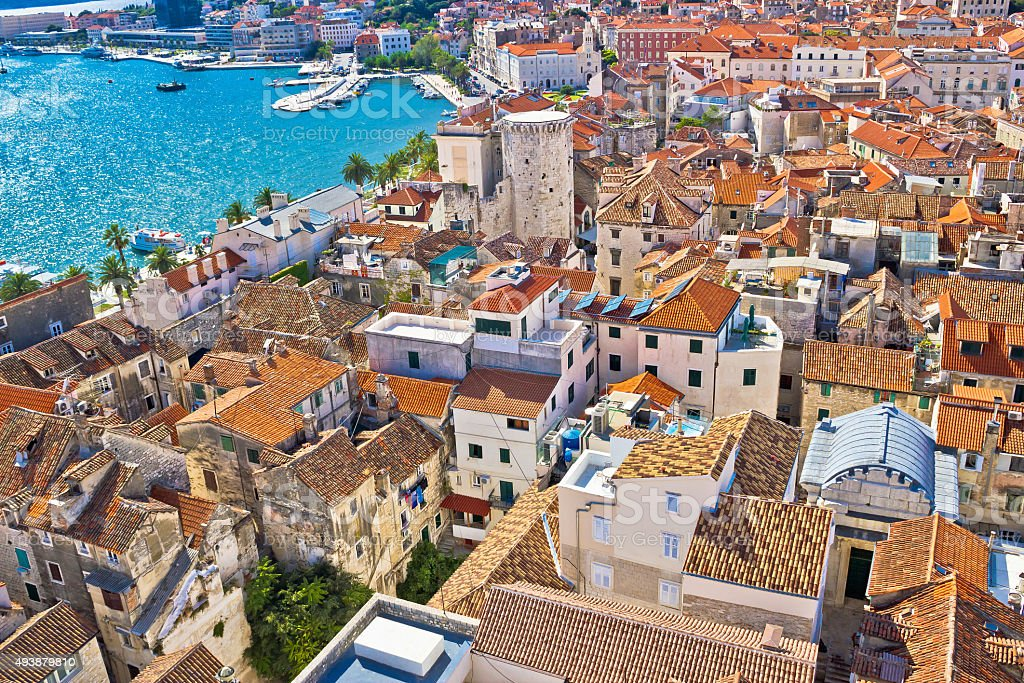 Old Diocletians palace in Split aerial view stock photo
