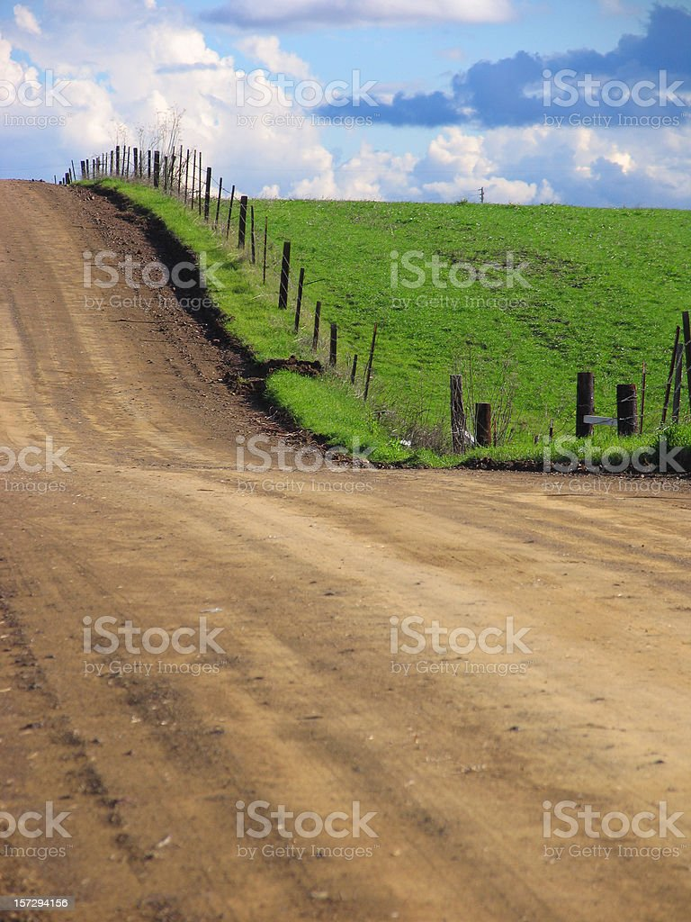 Old Dirt Country Road and Green Field royalty-free stock photo