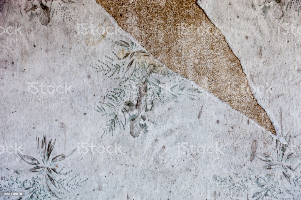 Old dirty and torn wallpaper stock photo