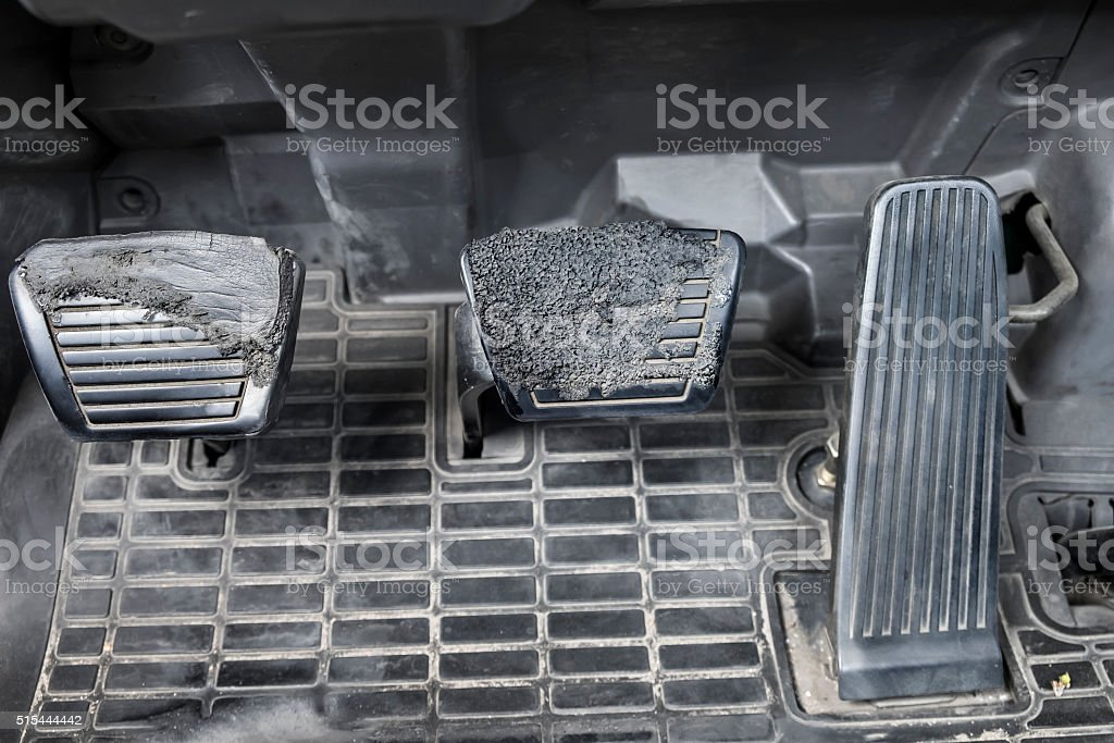 Old & Dirty Brake and accelerator of manual transmission truck stock photo