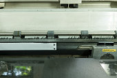 Old dirty dot matrix printer, close up
