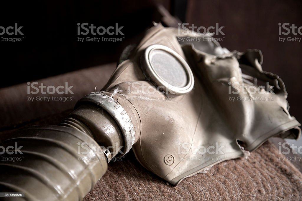 Old dirty gas helmet royalty-free stock photo