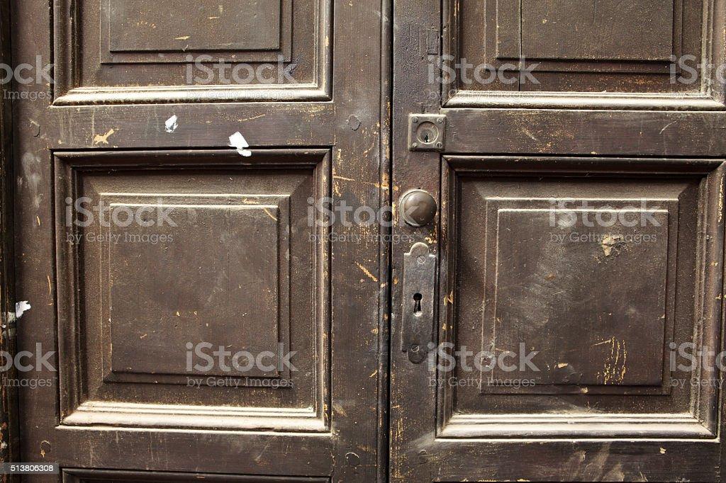 old dirty wooden door detail stock photo