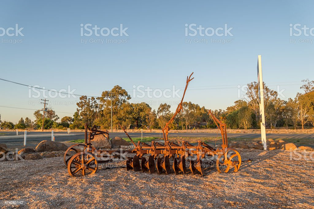 Old disc plough stock photo