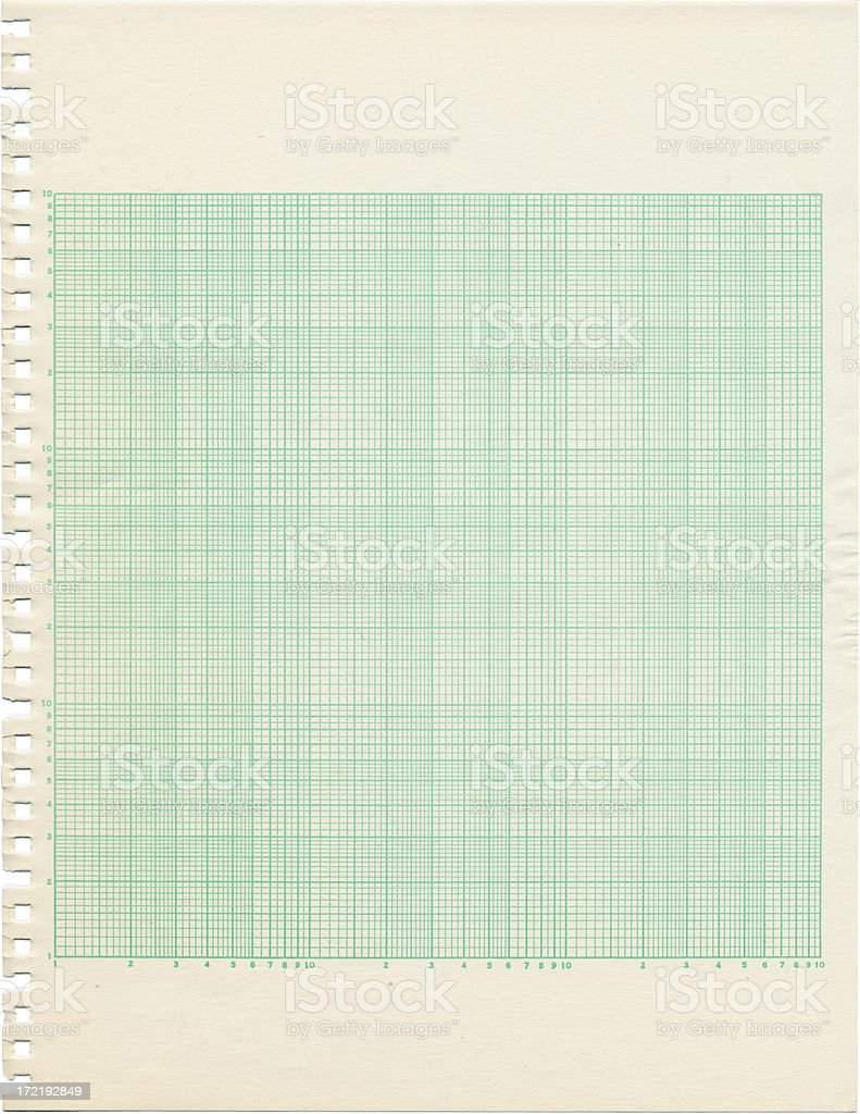 Old Discolored Sheet of Log-Log Graph Paper royalty-free stock photo