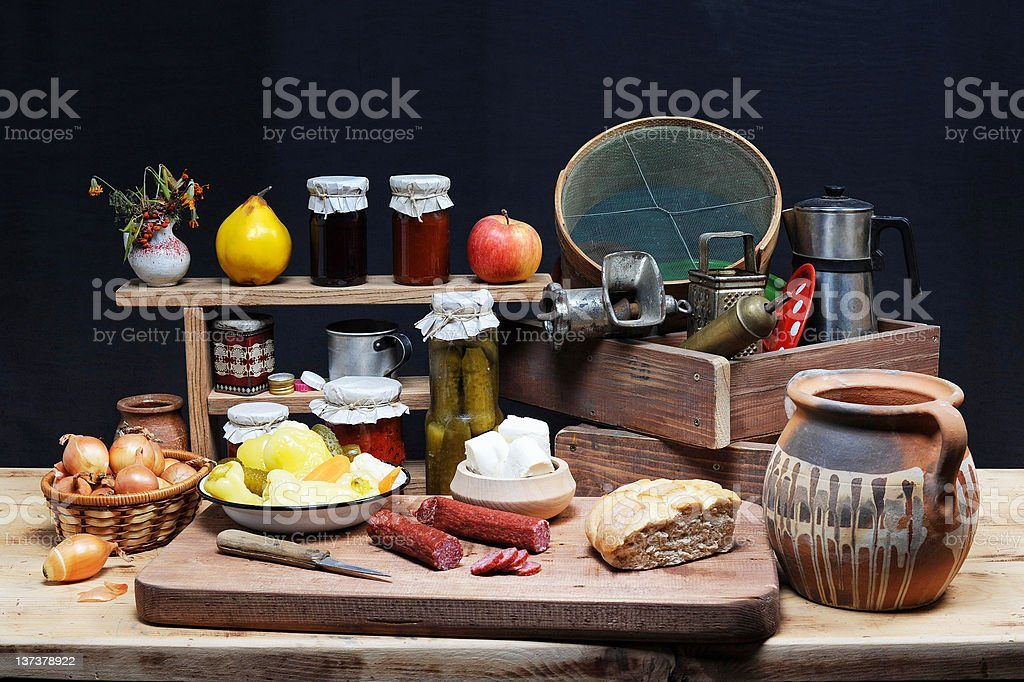 Old dishes and food royalty-free stock photo
