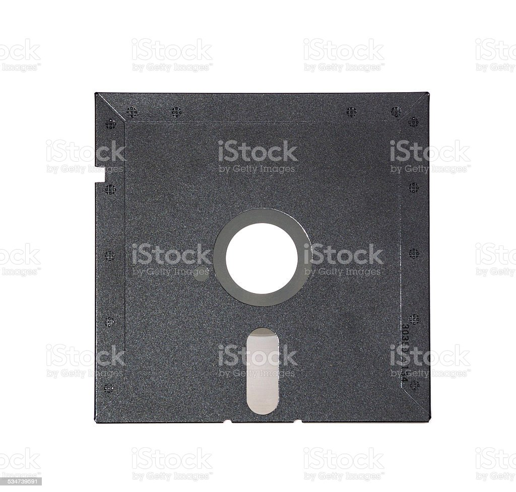 Old diskette 5-25 inches on white background. stock photo