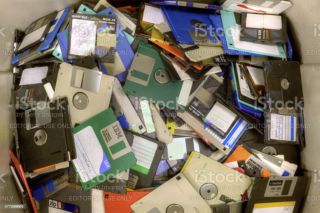 Old diskettes stock photo