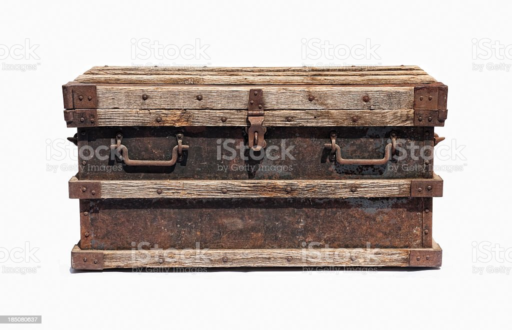 Old distressed chest stock photo