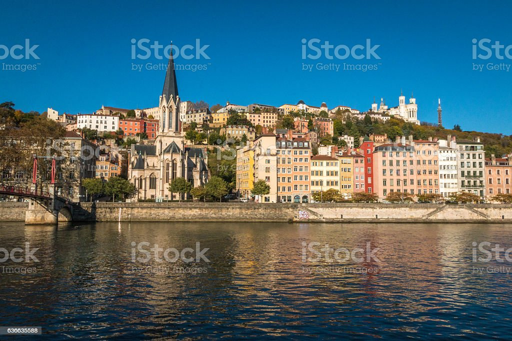 Old district of Lyon in France stock photo