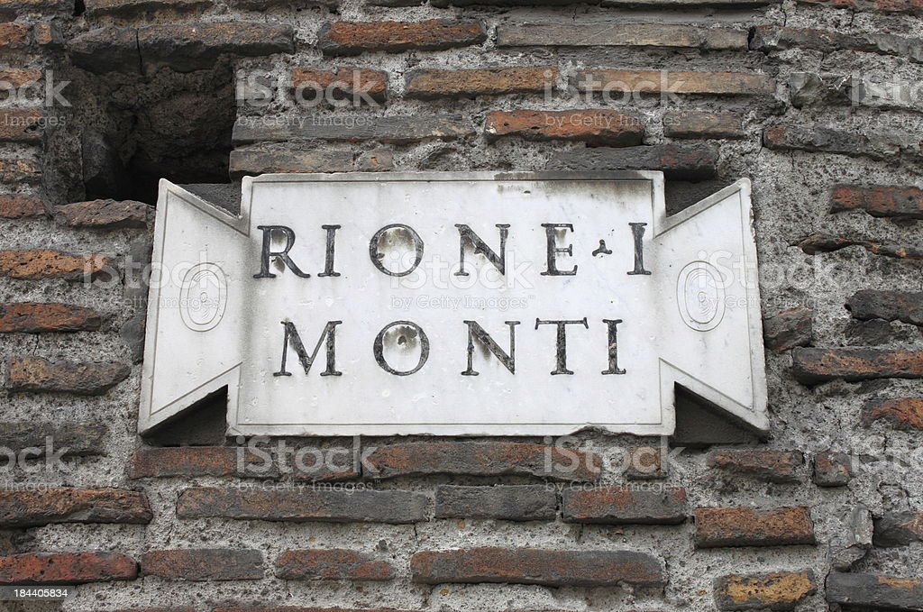 Old district plate in Rome stock photo