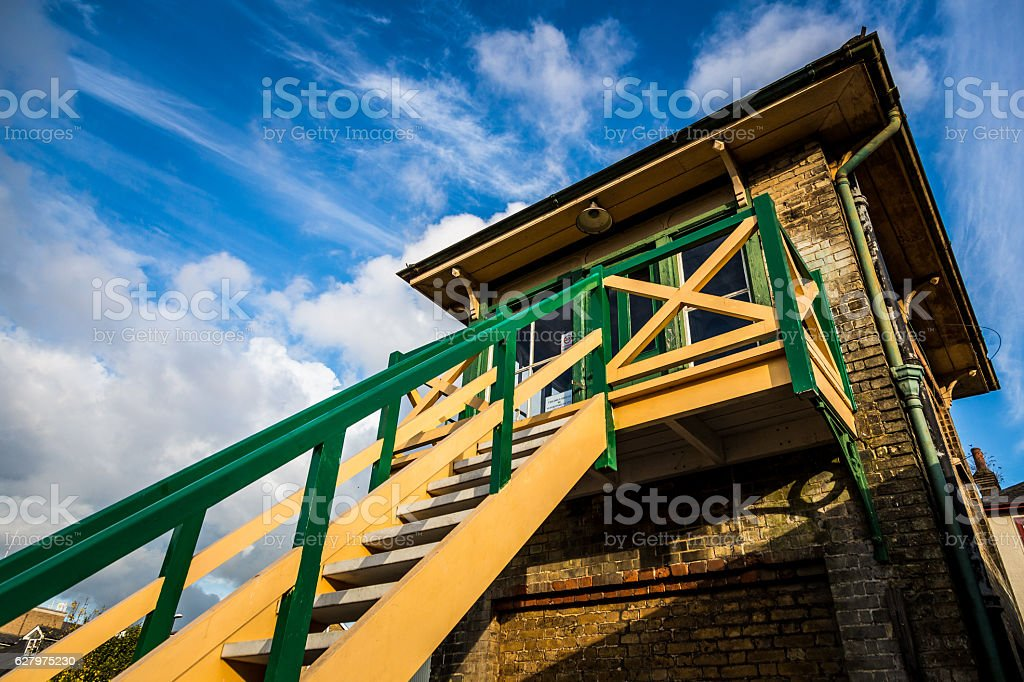 Old disused railway Signal Box in Crawley, West Sussex, UK stock photo