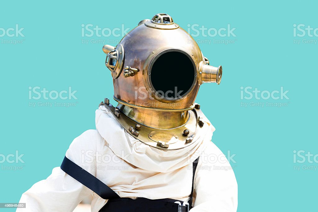 Old diving suit isolated with clipping path and copy space stock photo