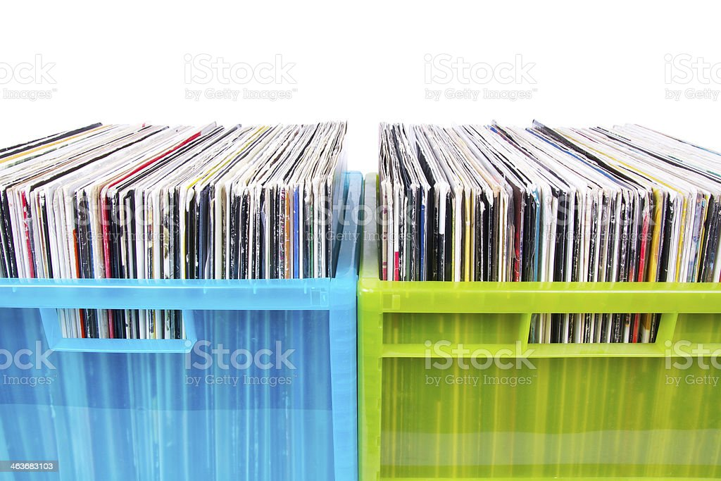 Old dj records collection in plastic boxes stock photo