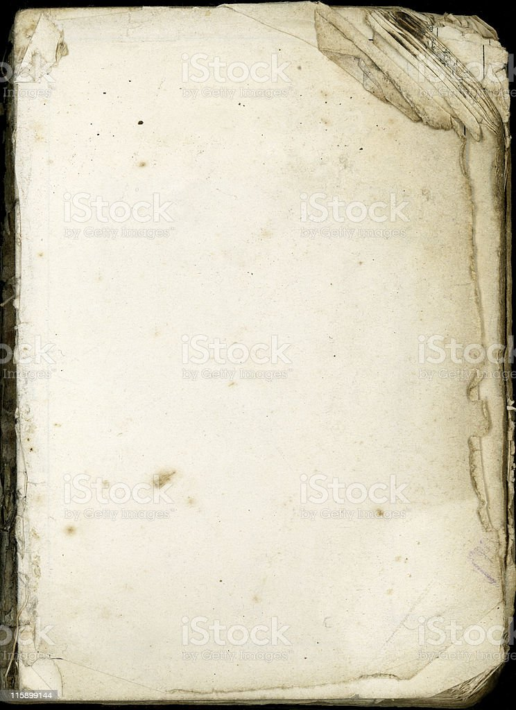 Old dog eared pages from an decaying bible stock photo