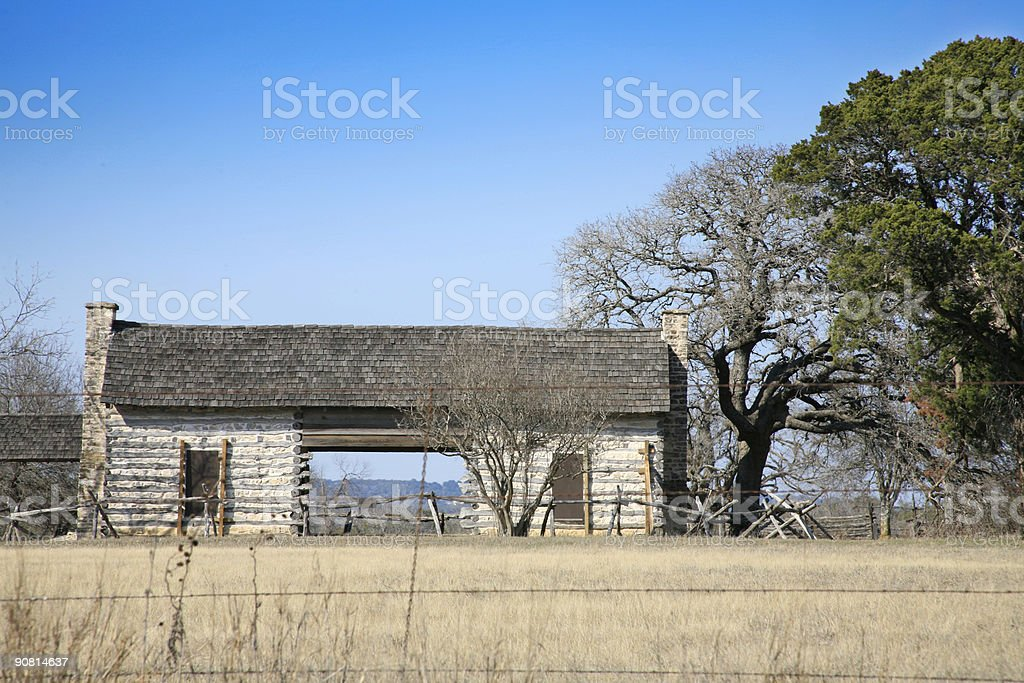 Old dog trot cabin in Texas Hill Country royalty-free stock photo