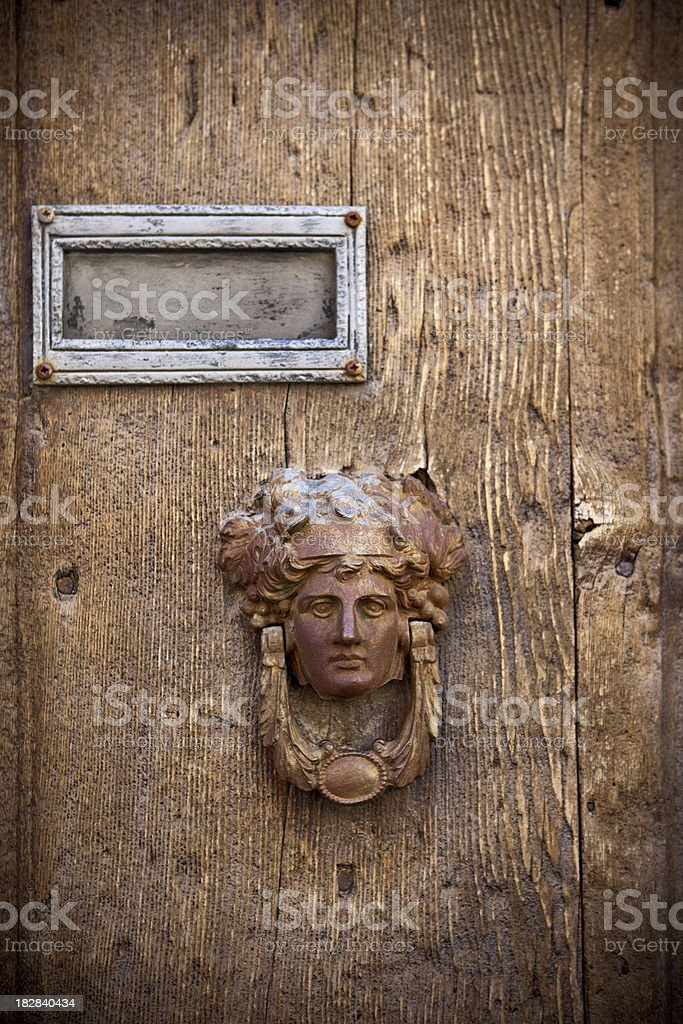 Old door and handle royalty-free stock photo