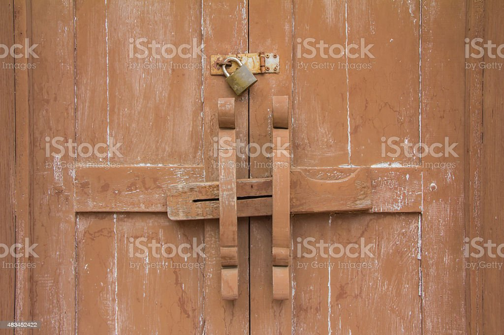 Old door and lock stock photo