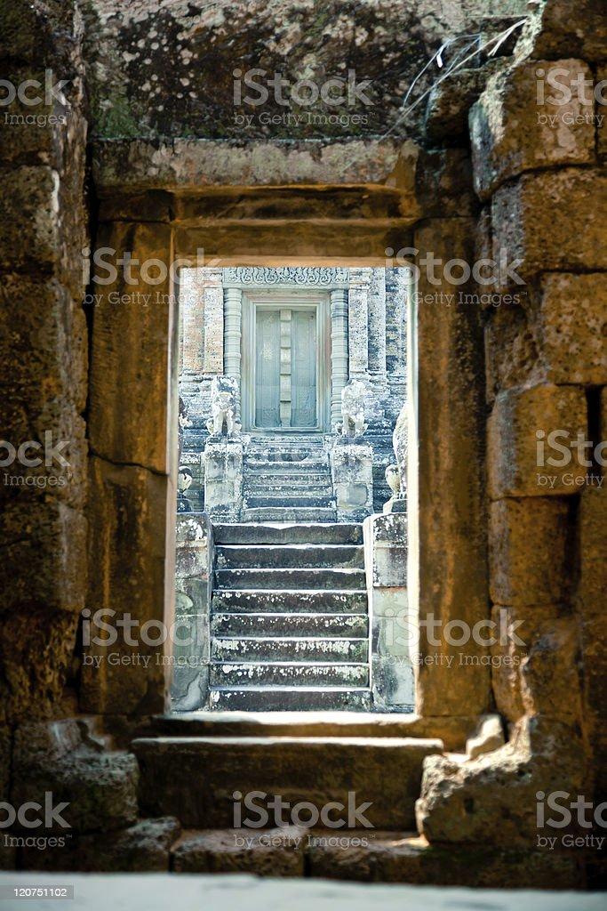 old door at Angkor Wat, Cambodia royalty-free stock photo