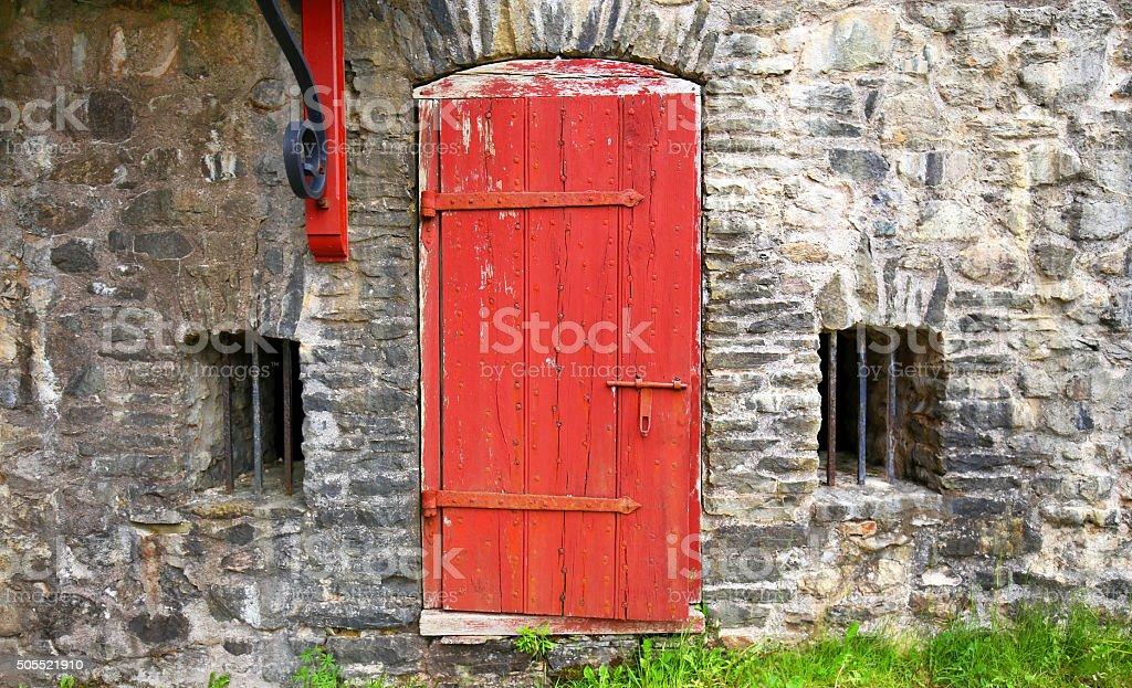 Old Door, Fort Louisbourg, Nova Scotia stock photo