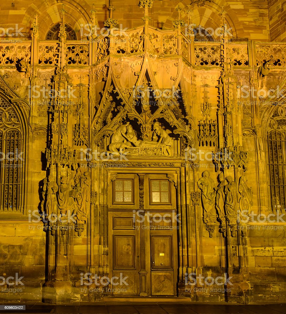 Old door from cathedral stock photo
