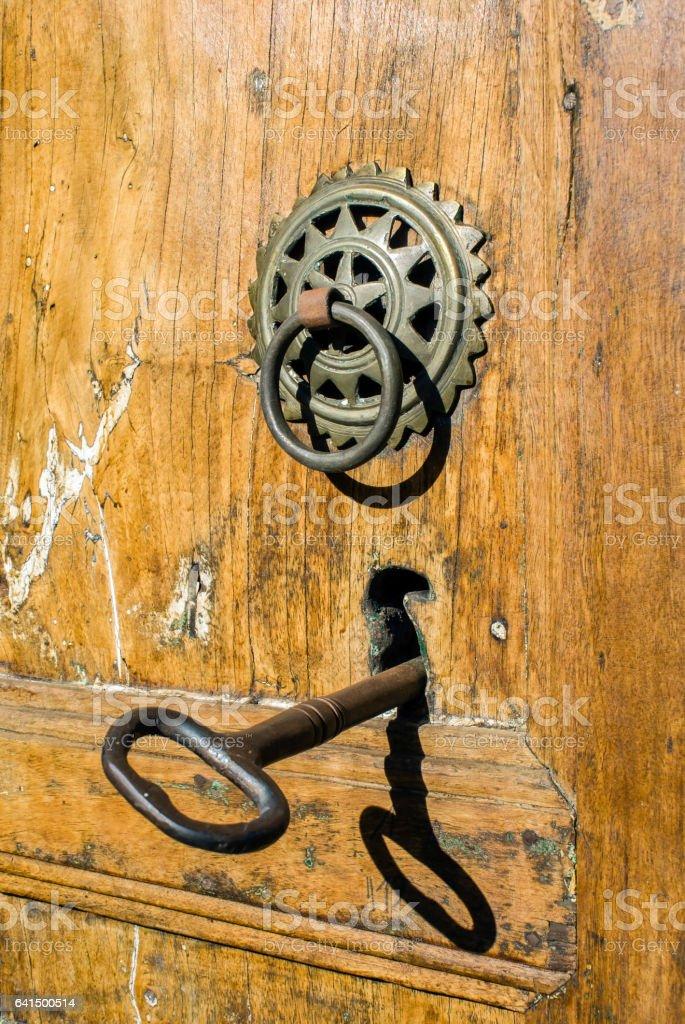 Old door handle stock photo