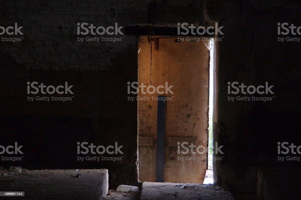 Old door in a barn stock photo