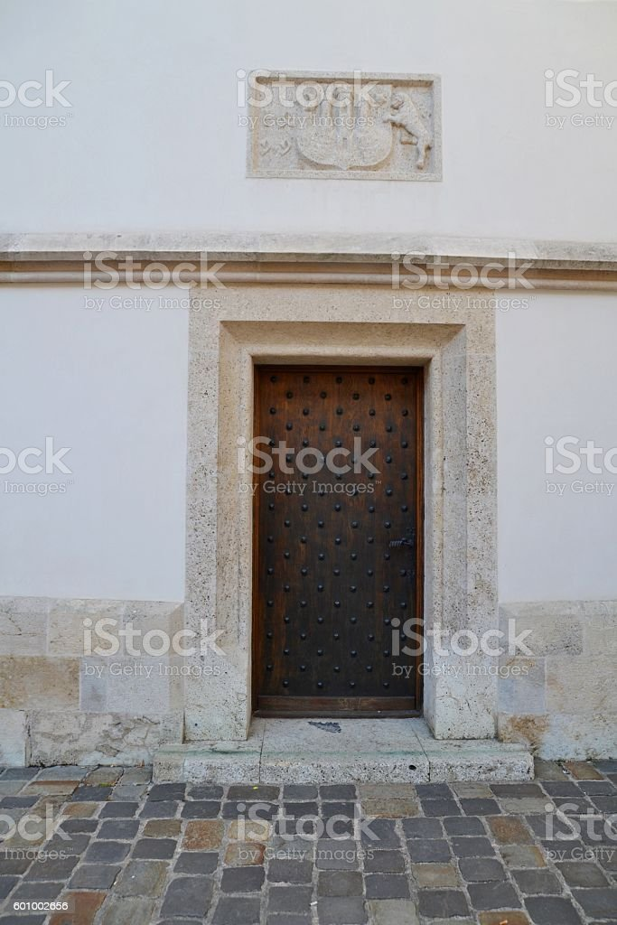 Old door in ancient house stock photo
