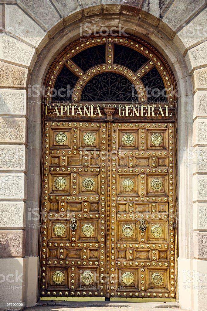 Old door in Barcelona Gothic Quarter, Capitania General stock photo