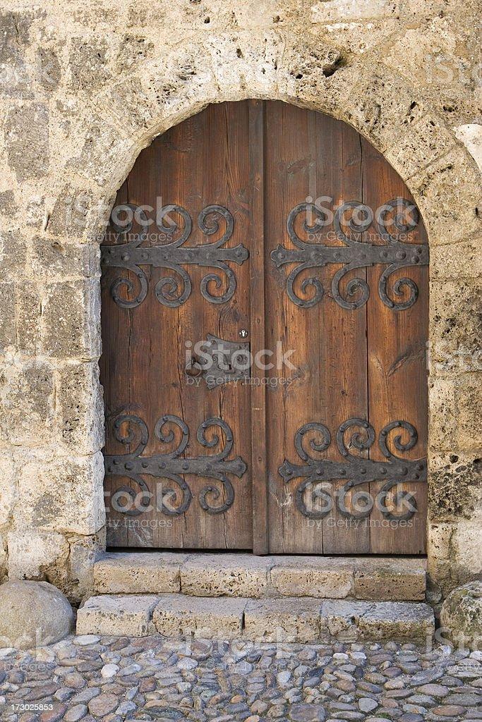 Old door in Burghausen castle, Germany stock photo
