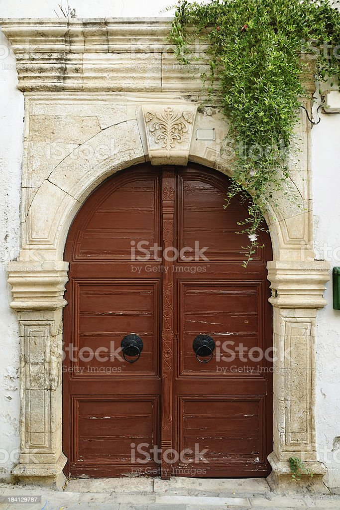 Old door in city of Rethymno royalty-free stock photo